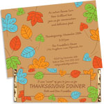 Fall Autumn leaves theme invitations and favors
