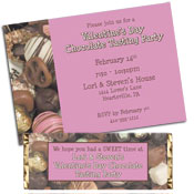 Valentine's Day chocolate theme invitations and party favors