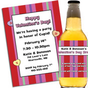 Valentine's Day candy heart theme invitations and party favors