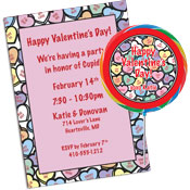 Conversation Hearts theme Valentine's Day party invitations