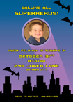custom Batman photo birthday invitation