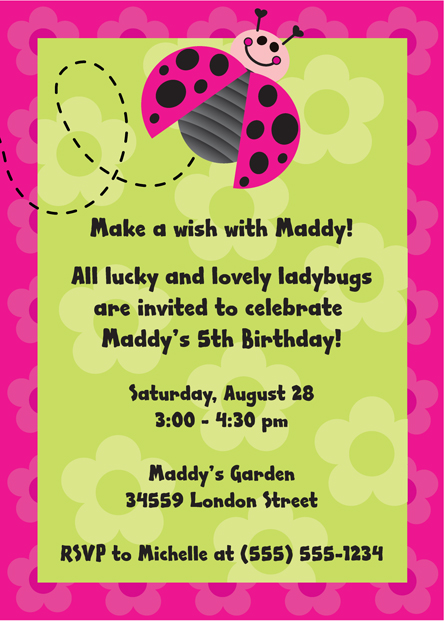 personalized ladybug invitation