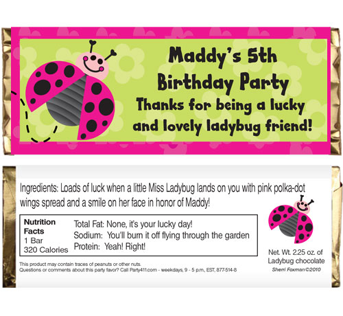 Ladybugs Theme Candy Bar Wrapper / Perfect for your little ladybug.
