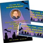 Batman theme party invitations and favors