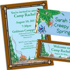 Camp theme birthday party invitations and party favors