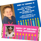 Birthday candles photo invitation and favors