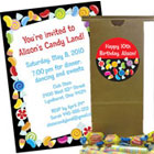 Candy theme invitations, favors