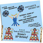 Cheerleading theme invitations and favors