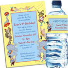 Circus theme birthday party invitations and favors