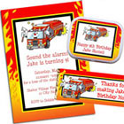 Figh fighter, fire truck birthday party invitations