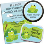 Frog theme birthday invitation and kids party favors