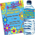 Hippie theme retro kids party invitations and favors