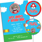 Mario Brothers theme photo invitations and party favors