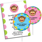 Mod Monkey theme girls and boys birthday party invitations