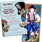 Pirate theme birthday party invitations and favors