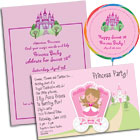 Princess birthday party invitations and favors