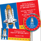 Space theme invitations, birthday party favors