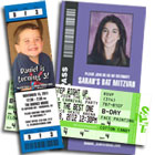 Ticket style birthday invitations