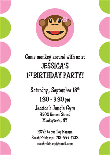 Monkey Invitation, Girl Theme / Have a monkey of a good time!
