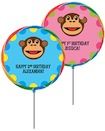 personalized monkey theme lollipop party favor