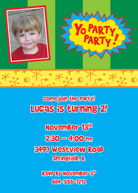 Custom Yo Gabba Gabba Style Invitation / Add your child's face to this fun Yo Gabba Gabba theme invitation