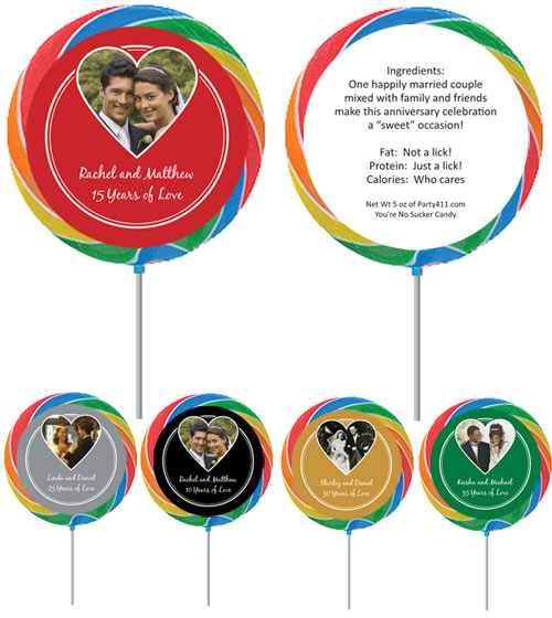 Anniversary Heart Photo Theme Lollipop