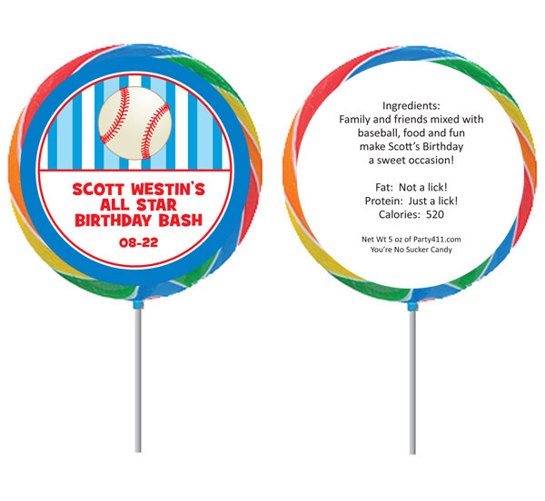 Custom Baseball Lollipop / Hit one out of the park with this lollipop party favor!
