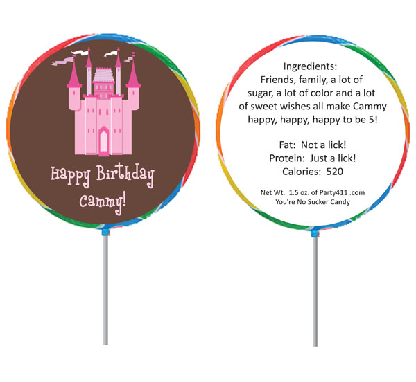Birthday Castle Theme Lollipop / Great lollipop girl's birthday party favor just for your princess!