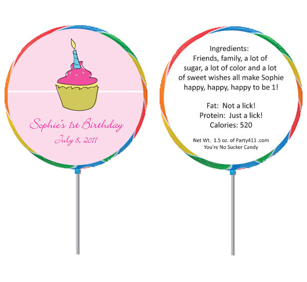 Cupcake Custom Lollipop / A sweet cupcake theme lollipop party favor!