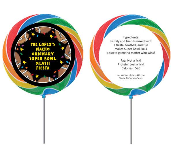 Super Bowl Fiesta Theme Custom Lollipop
