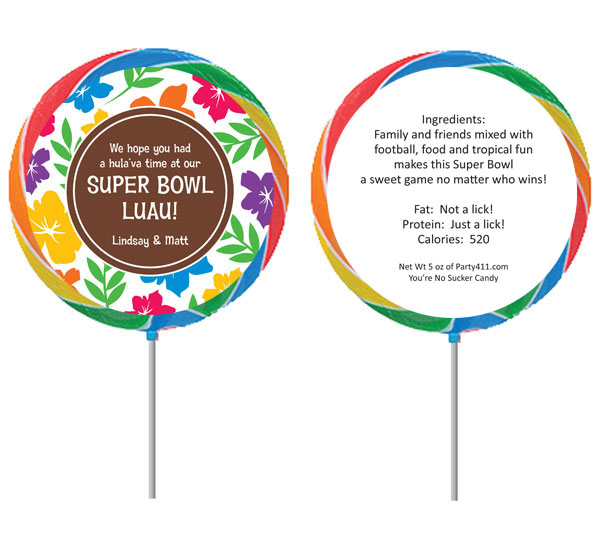 Super Bowl Luau Theme Custom Lollipop / Celebrate Super Bowl luau style