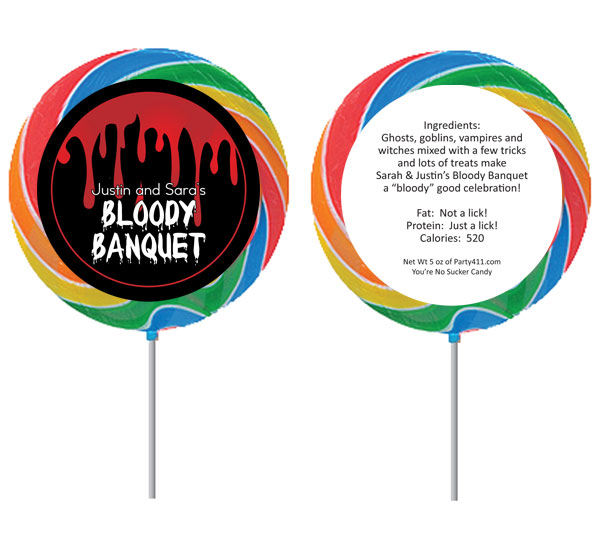 Halloween Bloody Banquet Lollipop / Send your guests home with a bloody lollipop favor!