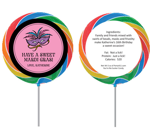 Mardi Gras Masks Theme Lollipop