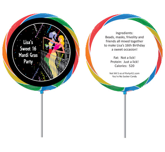 A Mardi Gras Balcony Theme Lollipop / The perfect favor for your Mardi Gras theme party!