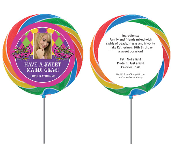 Mardi Gras Party Theme Lollipop