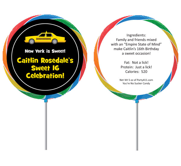 New York Taxis Theme Custom Lollipop