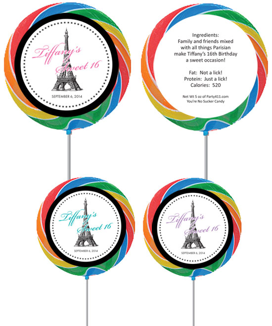 Paris Party Theme Custom Lollipop