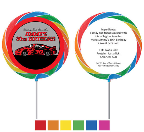 Racing Party Theme Custom Lollipop