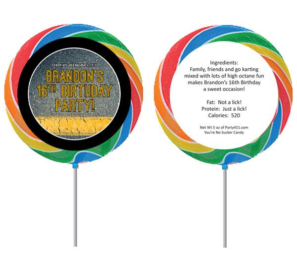 Racing Theme Custom Lollipop