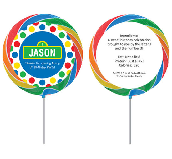 Birthday Sesame Street Theme Custom Lollipop / Great lollipop Sesame Street birthday party favor!
