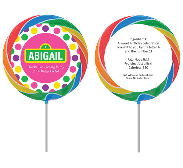 Birthday Sesame Street Pink Theme Custom Lollipop