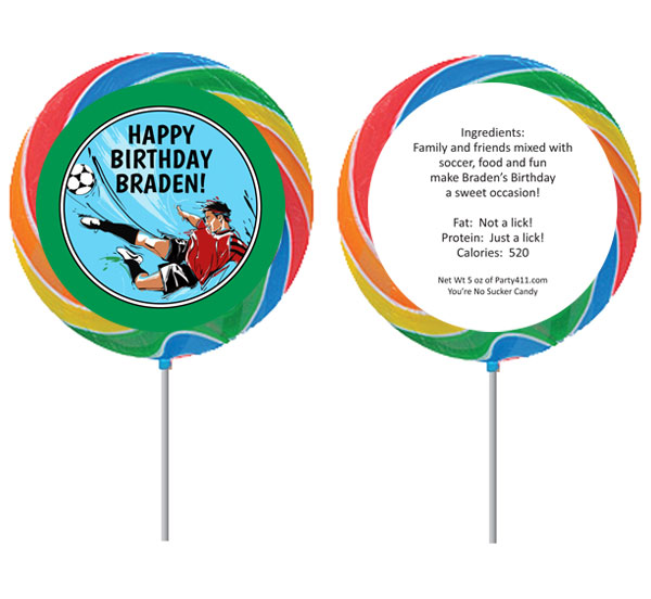 Soccer Boy Theme Custom Lollipop