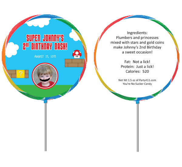 Birthday Super Mario Brothers Theme Lollipop, Photo / Add a photo to this Super Mario Brother's lollipop