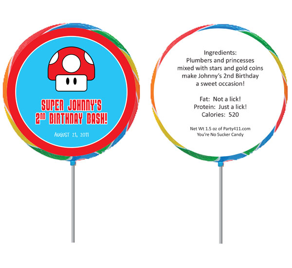 Birthday Super Mario Brothers Theme Lollipop / A fun Super Mario Brothers theme lollipop