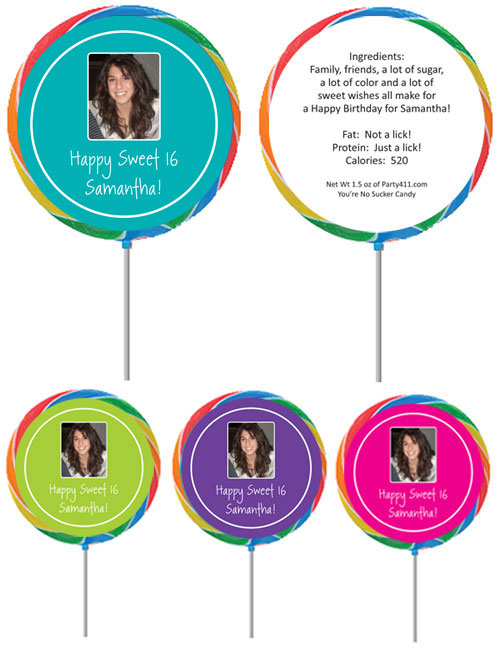 A Custom Sweet 16 Photo Lollipop