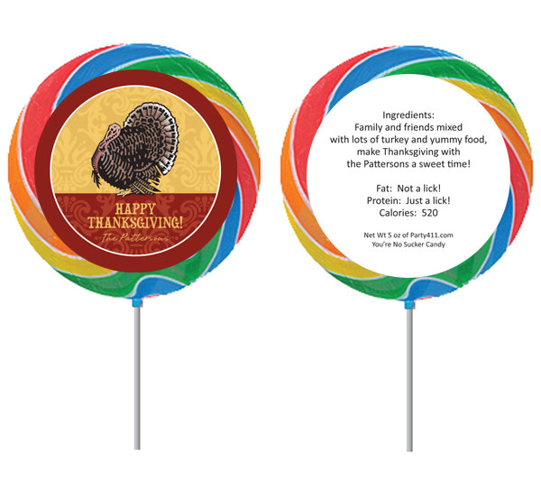 Thanksgiving Turkey Theme Lollipop