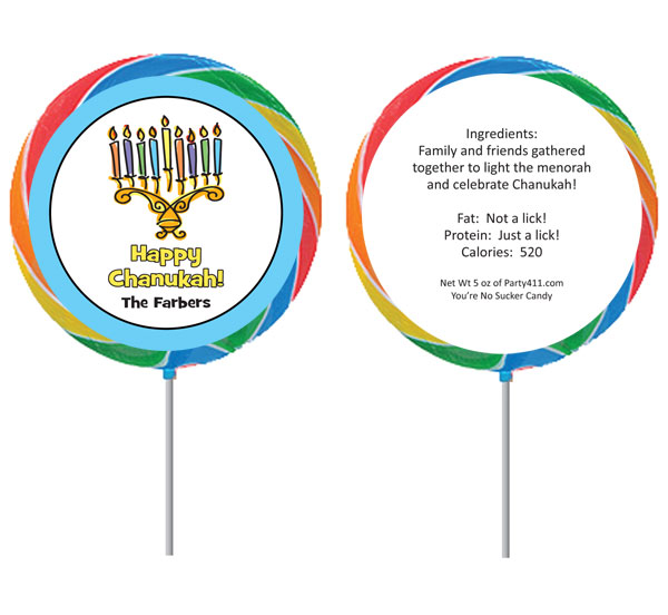 Chanukah Menorah Lollipop / This lollipop party favor is perfect for a Chanukah party!