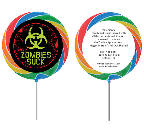Zombie Theme Lollipop / Send your guests home with a zombie approved lollipop favor!