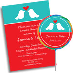 Love Bids theme invitations and favors