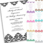 Damask theme invitations and favors